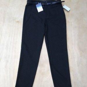 Zara Black Velvet Polka Dot Skinny Pants